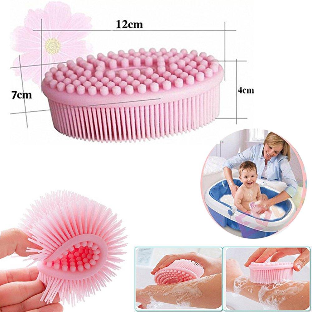 Easyinsmile 2 in 1 Baby Multi-Use Soft Silicone Massage Brush Bath Shampoo Scalp
