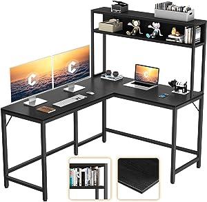 "CubiCubi L-Shaped Desk with Hutch,59"" Corner Computer Desk,Home Office Gaming Table Workstation with Storage Bookshelf,Black"