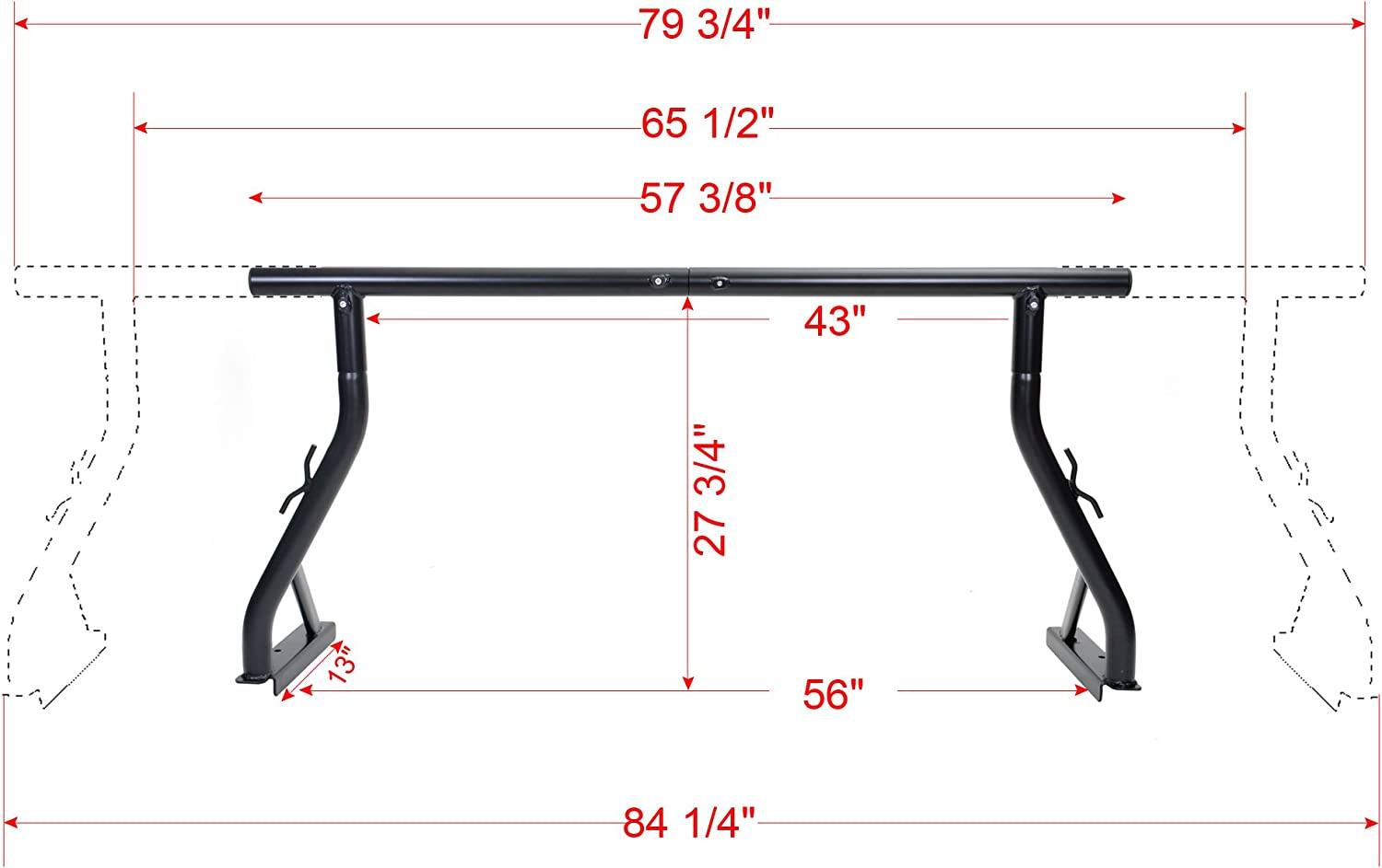 TMS 800LB Universal Pick up Truck Ladder Rack Contractor Pick up Rack Lumber Utility