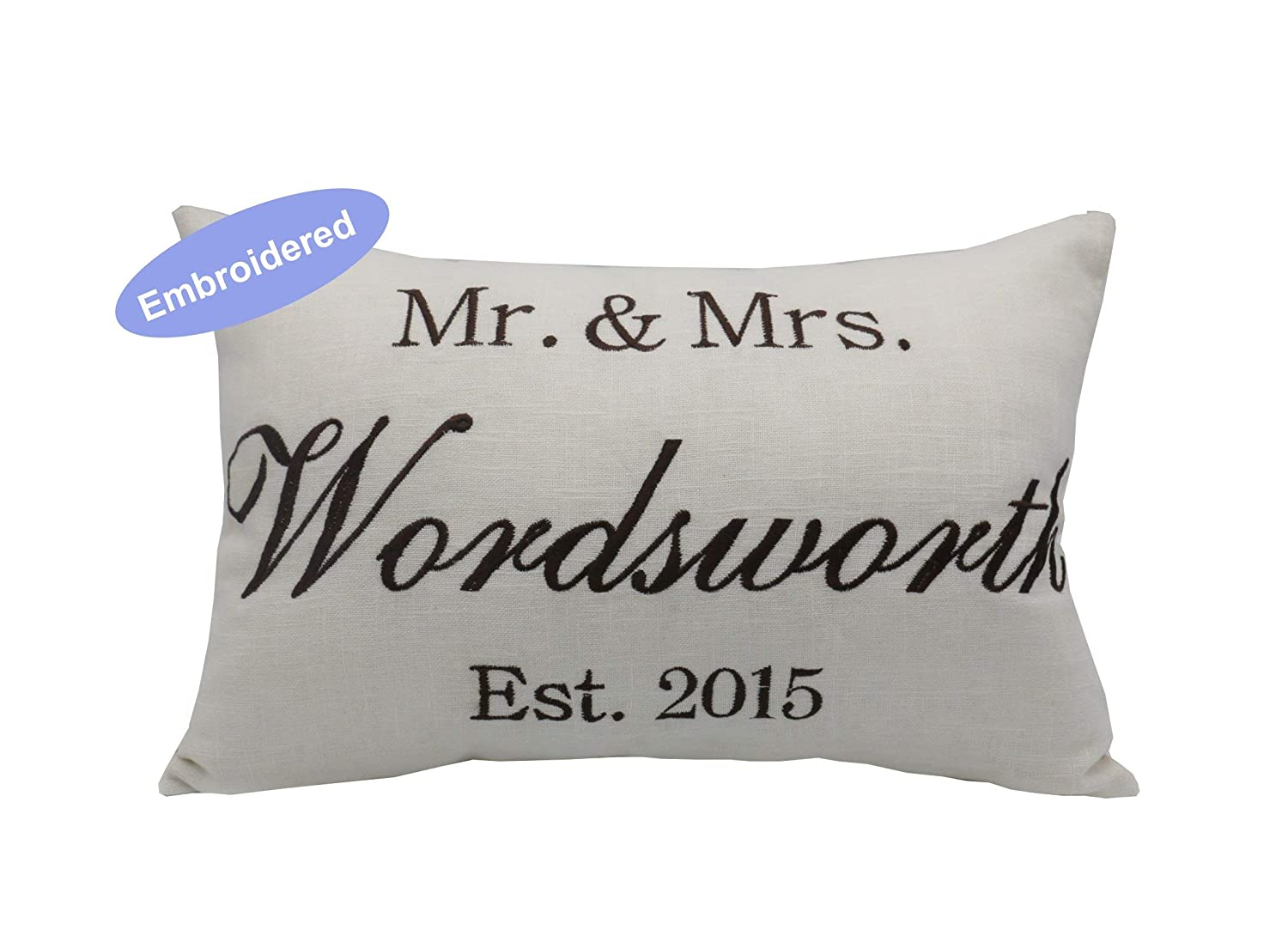 PERSONALISED MR MRS Present Wedding gift Pillow cases EMBROIDERED WITH ANY TEXT