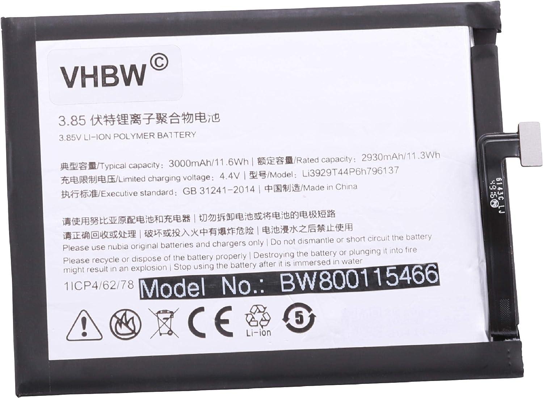 vhbw Litio polímero batería 3000mAh 3.85V para móvil Smartphone teléfono ZTE Nubia NX549J, Z11 Mini S, Z11 Mini S Dual SIM, Z11 Mini S Dual SIM TD-LTE