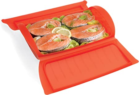 Lékué - Estuche de Vapor para el microondas, con una Capacidad de 1400 ml, 3-4 Personas, Color Rojo: Amazon.es: Hogar