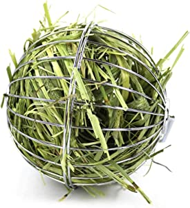 Rabbit Hay Feeder, Grass Play Hay Ball Chew Toy 2 in 1 Stainless Steel Food and Grass Frame Bowls, Small Animals Hay Manger Dispenser for Hamsters Gerbils Rat Chinchillas Guinea Pigs