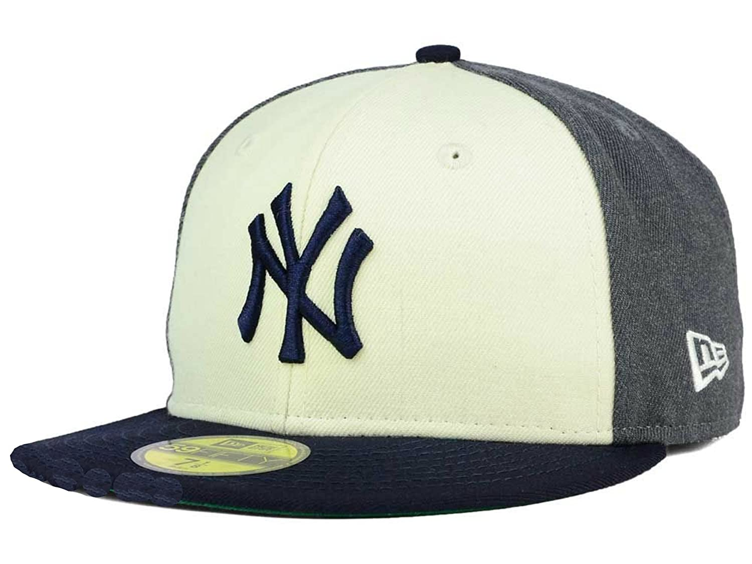 5ff50e9a76c Amazon.com   New York Yankees Tri Tone Fitted Size 7 1 2 Hat Cap - Charcoal  Black   Off White   Sports   Outdoors