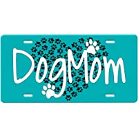 The Dog Mother And Puppet Strings Quote in Pink on a Black Background metal Vanity License Plate for front of car tag