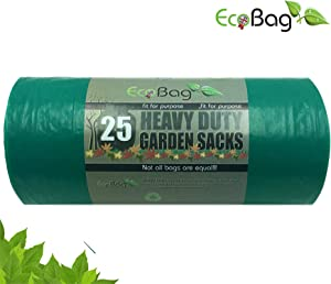 EcoBag   Yard Trash Bag, 20-25 Gallons (25 Piece), High Density Lawn Bags, Multipurpose, 100% Recycled Garden Sacks, Strong Can Liners (1)