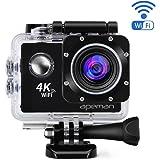 APEMAN 4K Action Cam WIFI Sport Camera Impermeabile 20 MP 170° Grandangolare 2.0 Pollici due 1050mAh Batterie e Kit Accessori con Pacchetto Portatile (Nero)