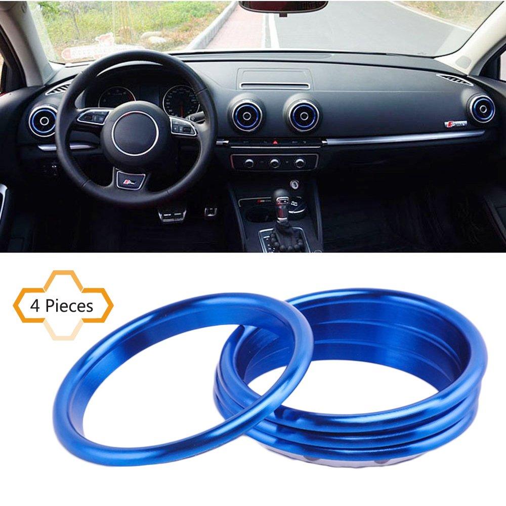 cogeek 4pcs/set Interior Dashboard Aire Acondicionado ventilación Adorno decoración estilo de coches salida de aire anillo círculo acero inoxidable ...