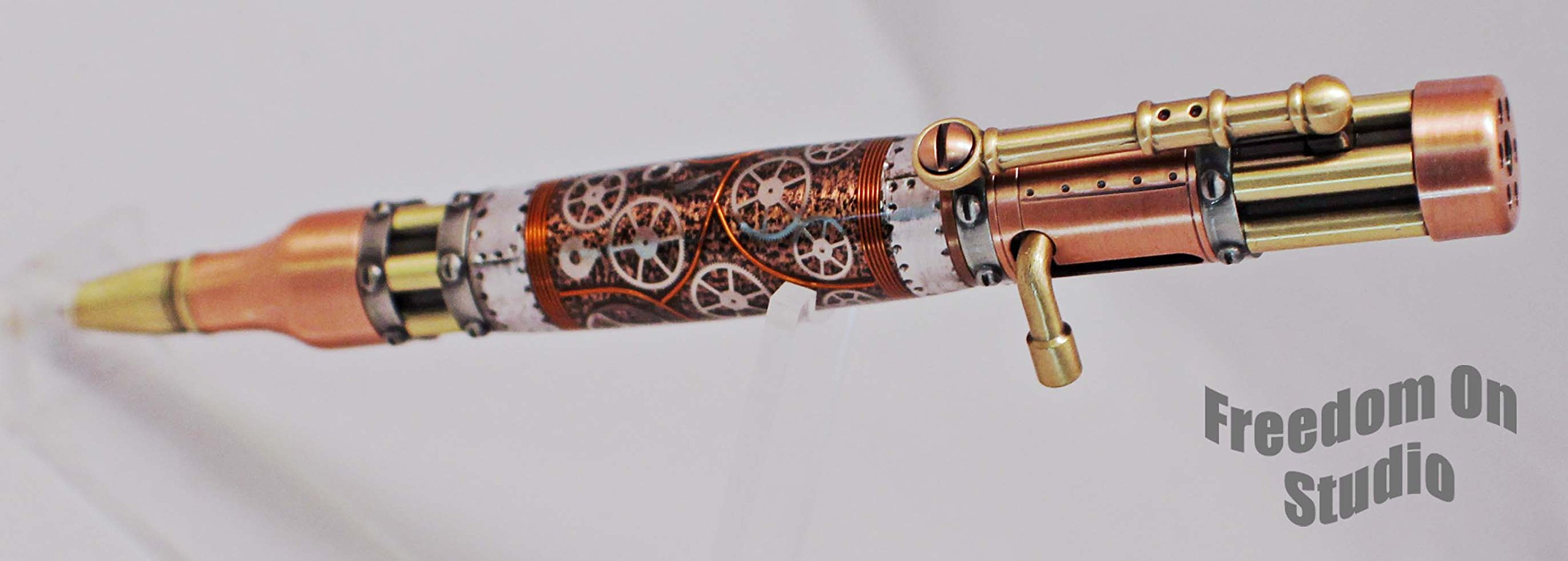 Hand Crafted Bolt Action Steampunk Pen -Watch Parts