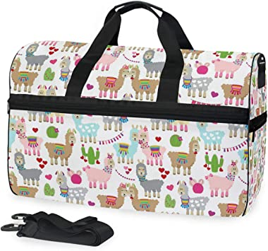 Waterproof Travel Duffel Bag Womens Weekend Bag Llama Alpaca Mens Luggage Bag For Gym Sports Overnight Trip
