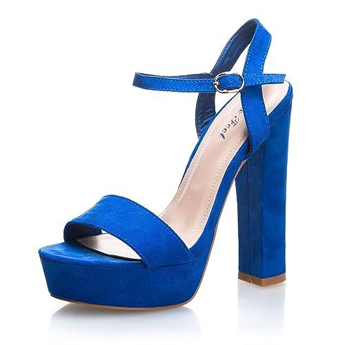 MFORSHOP scarpe donna sandali eco scamosciata tacco alto plateau cinturino B71