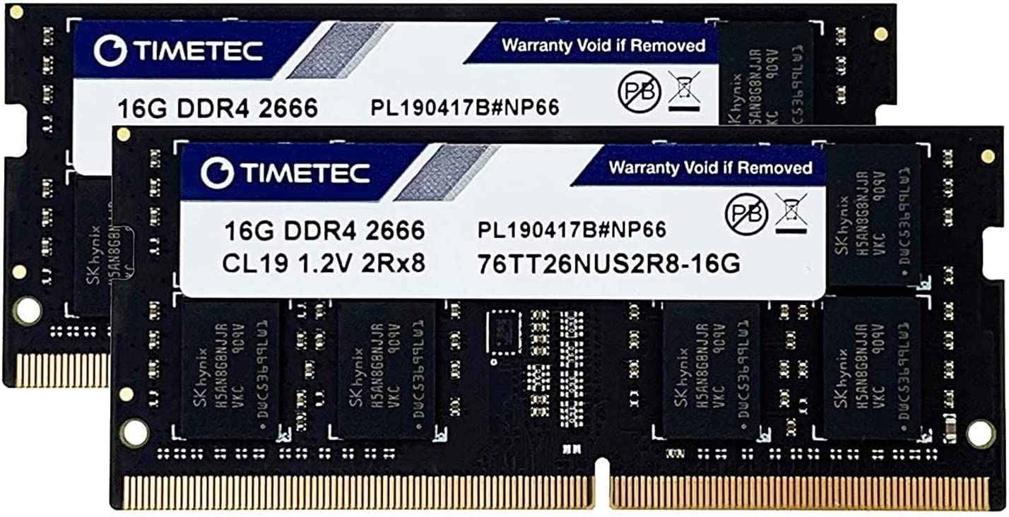 Timetec Hynix IC 32GB KIT (2x16GB) DDR4 2666MHz PC4-21300 Unbuffered Non-ECC 1.2V CL19 2Rx8 Dual Rank 260 Pin SODIMM Laptop Notebook Computer Memory RAM Module Upgrade (32GB KIT (2x16GB))