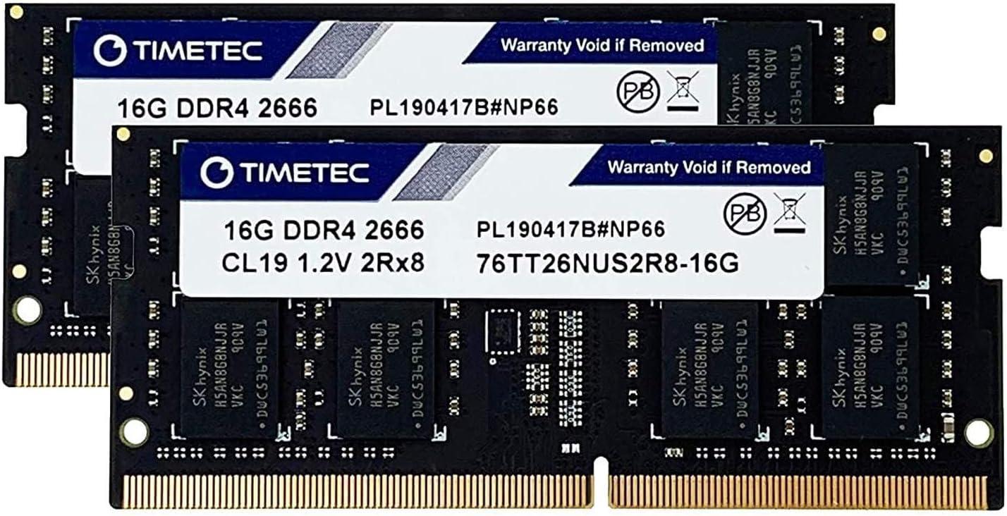 Timetec Hynix IC 32GB KIT(2x16GB) DDR4 SODIMM for Intel NUC KIT/Mini PC/HTPC/NUC Board 2666MHz PC4-21300 Non ECC Unbuffered 1.2V CL19 Dual Rank 260 Pin Memory Upgrade(32GB KIT(2x16GB))