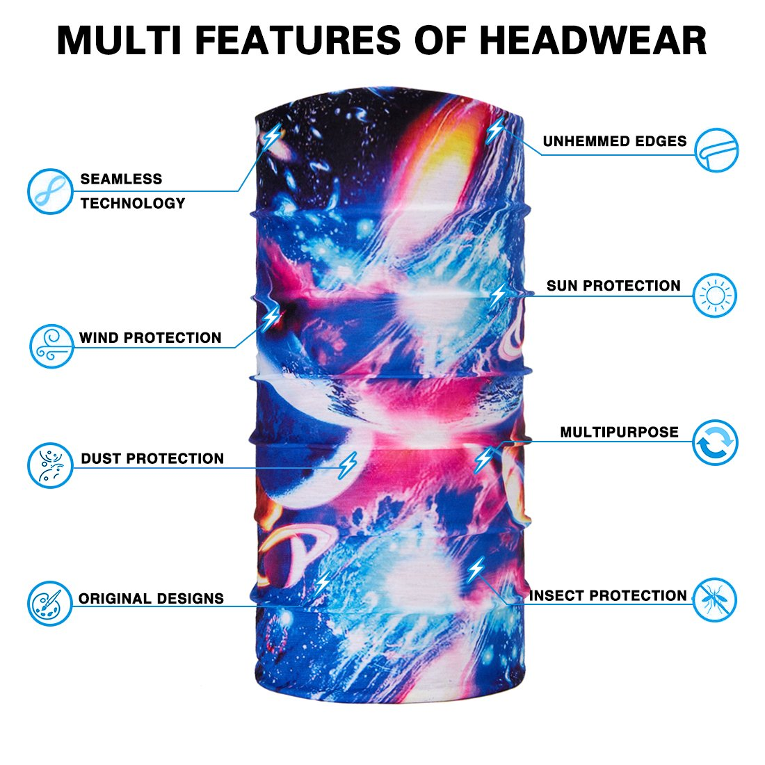 TUONROAD Custom Kids Mens Galaxy Outer Space Planet Light Magic Headband Scarf Tube Face Sun Mask Moisture Wicking Neck Gaiter Lightweight Brethable Balaclava for Running Fishing Hunting Hiking