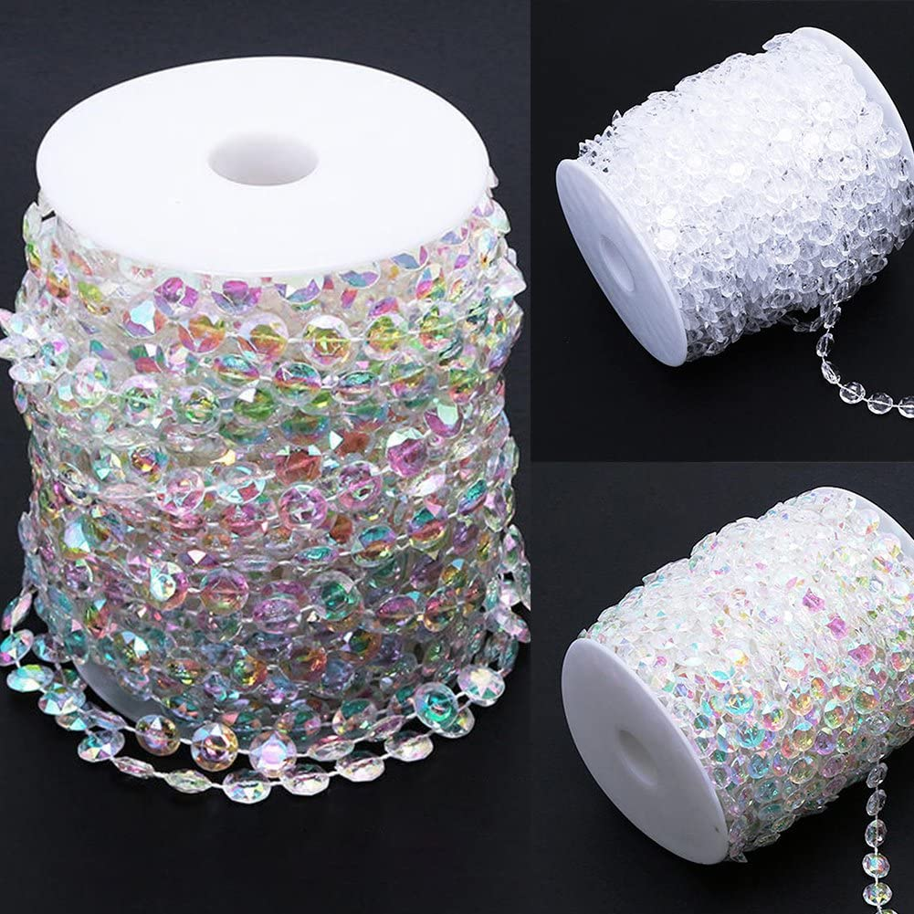 Party Decorations,Good for Home,Yard Decoration 33ft,Symphony osierr6 99 ft Clear Crystal Like Beads by The roll Wedding Decorations Birthday