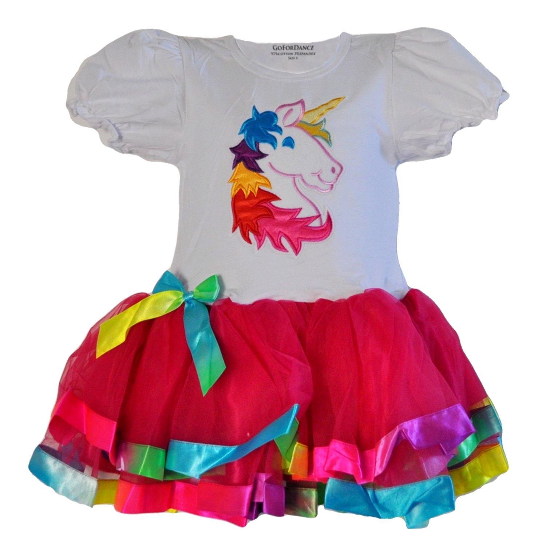 Unicorn Shirt & 3 Layer Tulle Tutu with Ribbon Trim Outfit (Medium, Fuchsia)