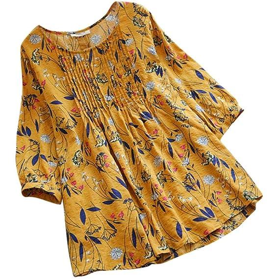 Yesmile Mujer Camisetas❤️Las Mujeres Camisa Las señoras de Las Mujeres de Manga Larga del Lunar Sueltan Blusa Pullover botón Remata la Camisa: Amazon.es: ...