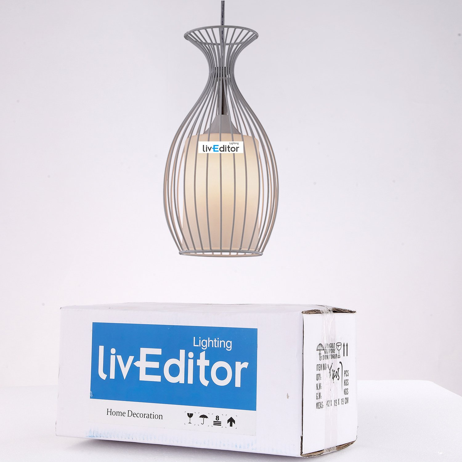LivEditor Lighting One-light Pendant with Metal Cage Shade Kitchen Island Lamp(Y4051-WM) by Liveditor Lighting (Image #5)
