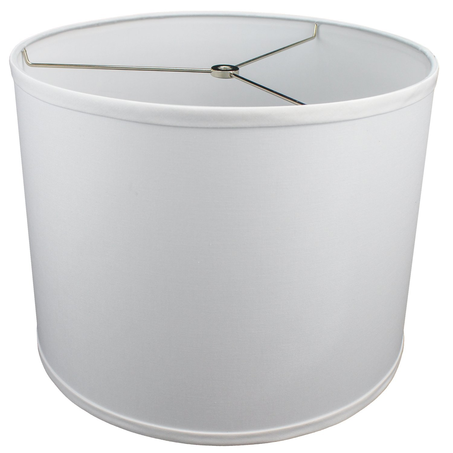 FenchelShades.com 14'' Top Diameter x 14'' Bottom Diameter 11'' Height Cylinder Drum Lampshade USA Made (White)