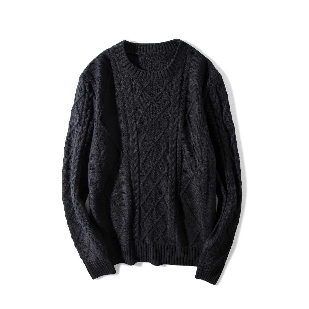 Granfee Men's Casual Fashion Pullover Sweater Twist Knitwear(yh001Black-Large)