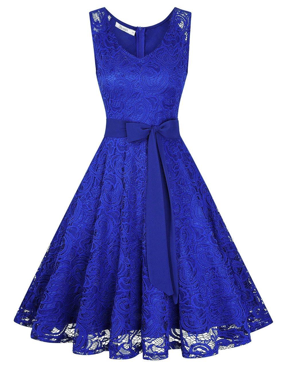 TALLA M. KOJOOIN Vestidos de Fiesta Mujer Vestido Encaje de Cóctel Vestido a Rodilla Vestidos Dama de Honor Azul2