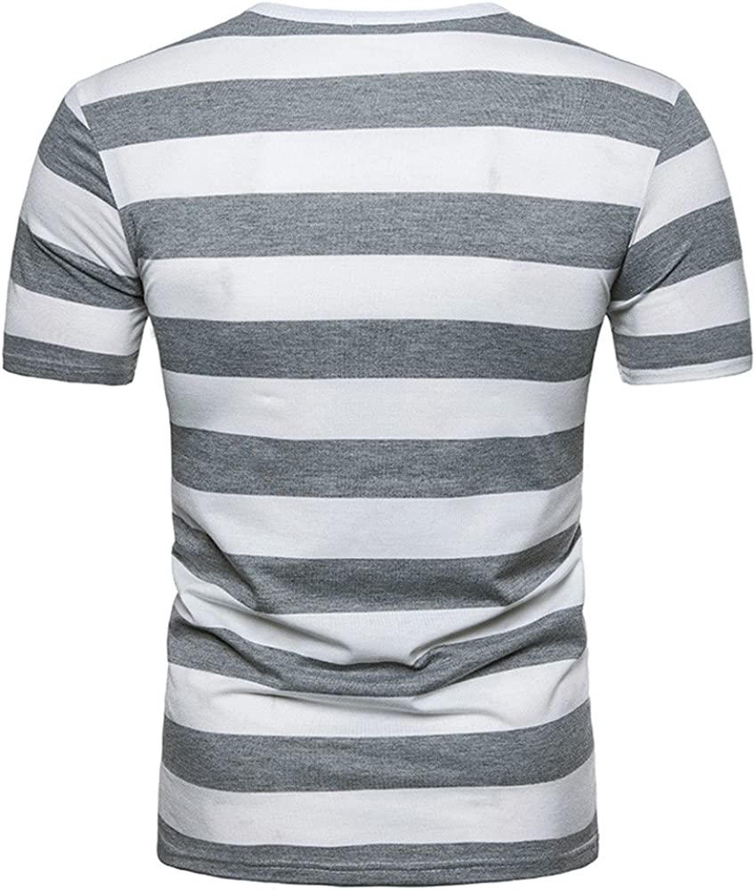 Mens Slim Fit Tee Shirt Summer Stripe Short Sleeve Shirt Pullover for Boy Zulmaliu Zulmuliu