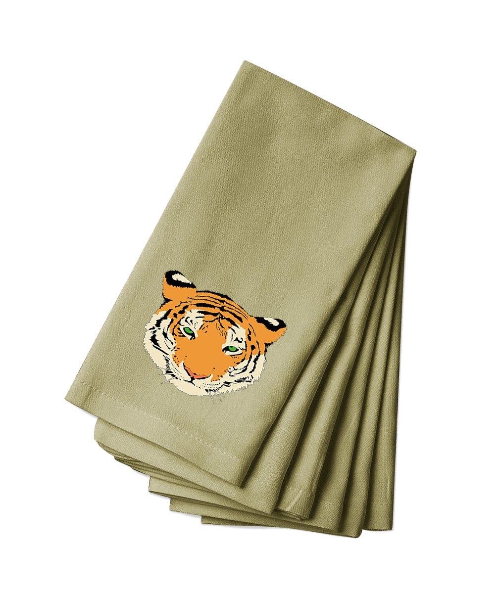 Style in Print Cotton Canvas Dinner Napkin Set Of 4 Tiger Animal Image By
