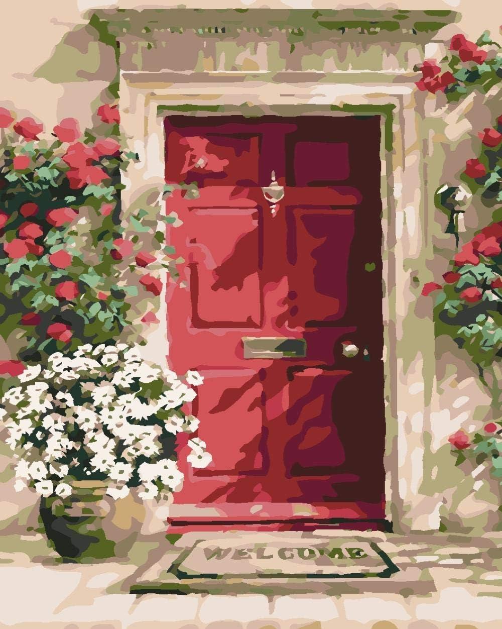 Iejsgfj Pintura por Números para Adultos niños 40x50cm Puerta roja Flor DIY Pinte por Number Kit Sin Marco Bricolaje Pintura al óleo Regalo Ocio la Lona Mural Decoraciones hogar