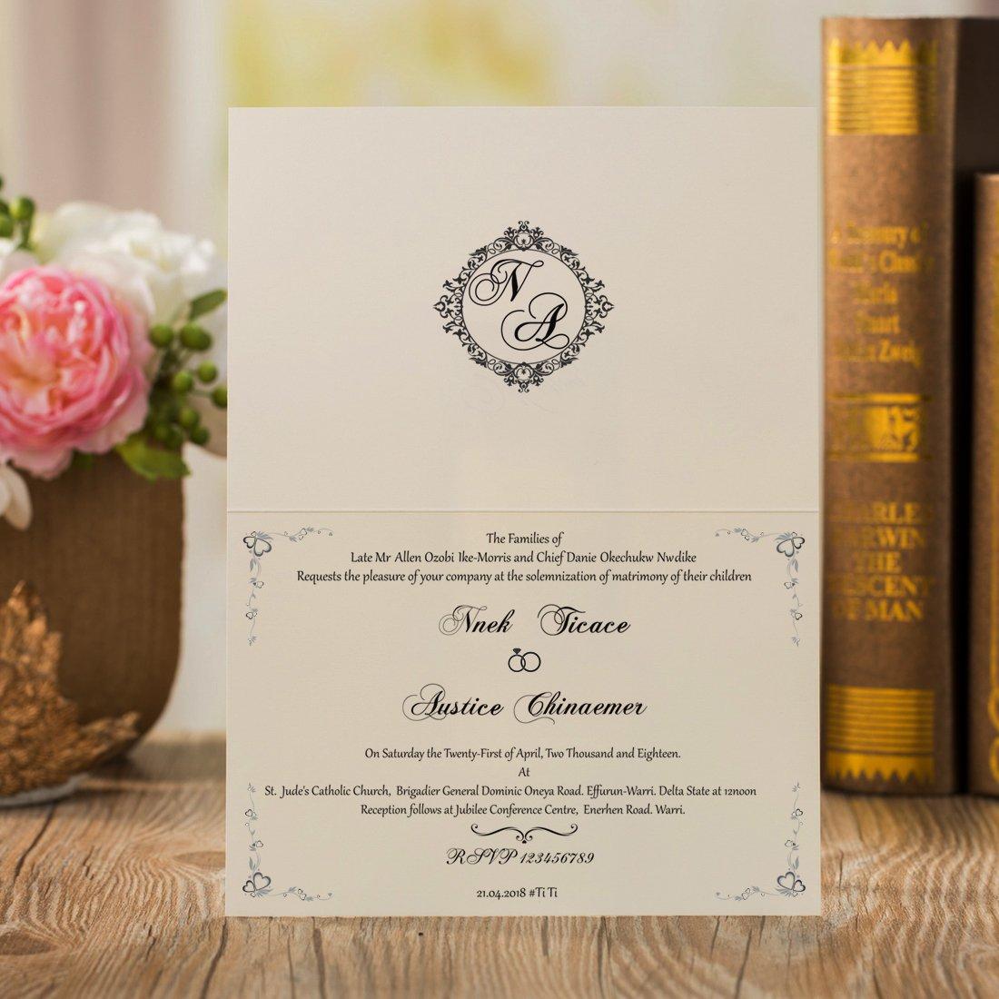 Wishmade Vintage Laser Cut Wedding Invitations Cards Blue 50 Pieces