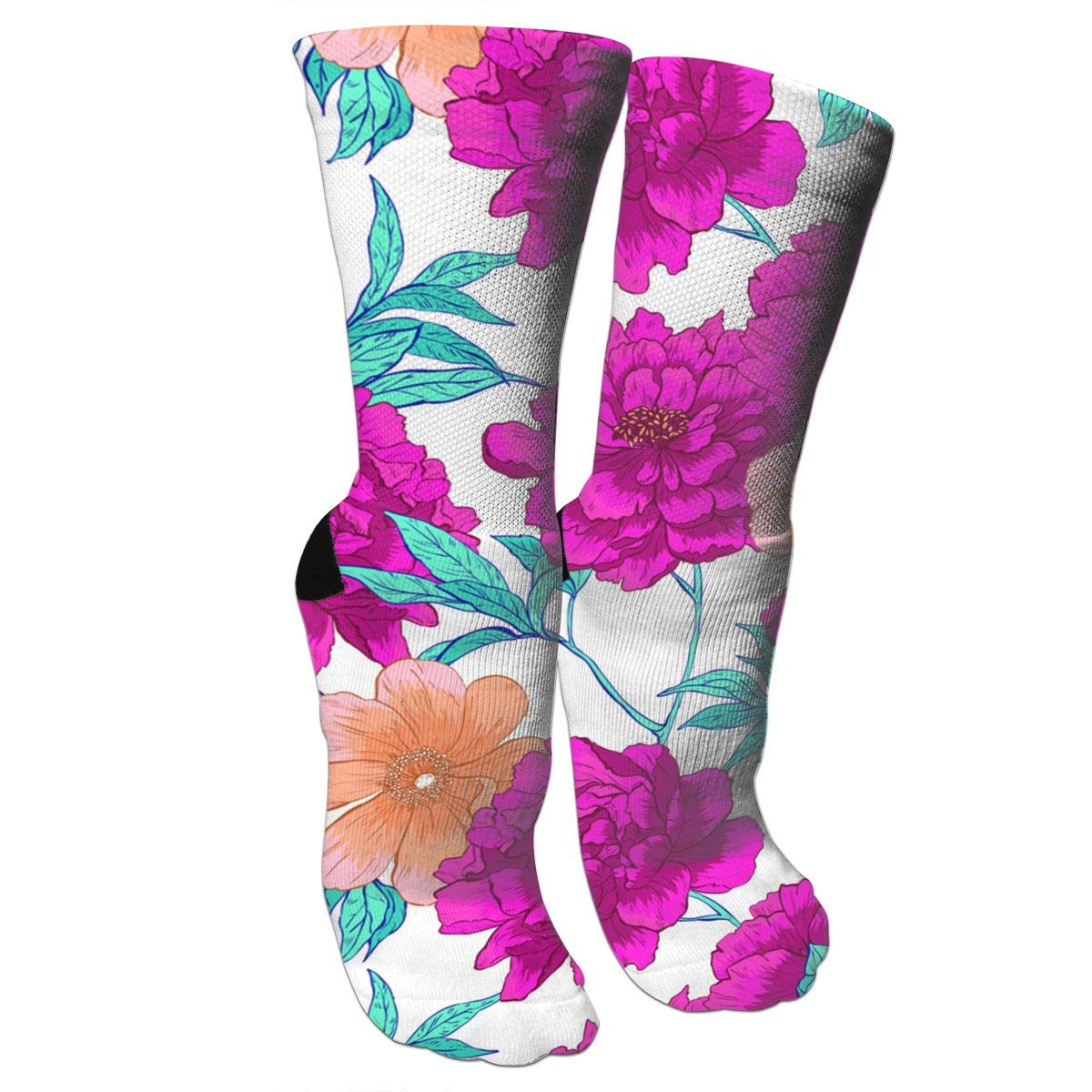 Floral Ornament Climbing Roses Crazy Socks Soft Breathable Casual Socks For Sports Athletic Running
