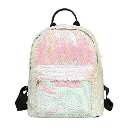 3b5fcbc294 2018 New! Paymenow Women Girls Sequins Backpack Purse Rucksack Stylish  School Shoulder Bag Travel College