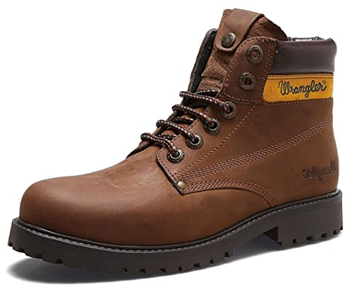 Wrangler Hunter Mens Lace Up Leather Ankle Boots Tan Black Brown:  Amazon.co.uk: Shoes & Bags