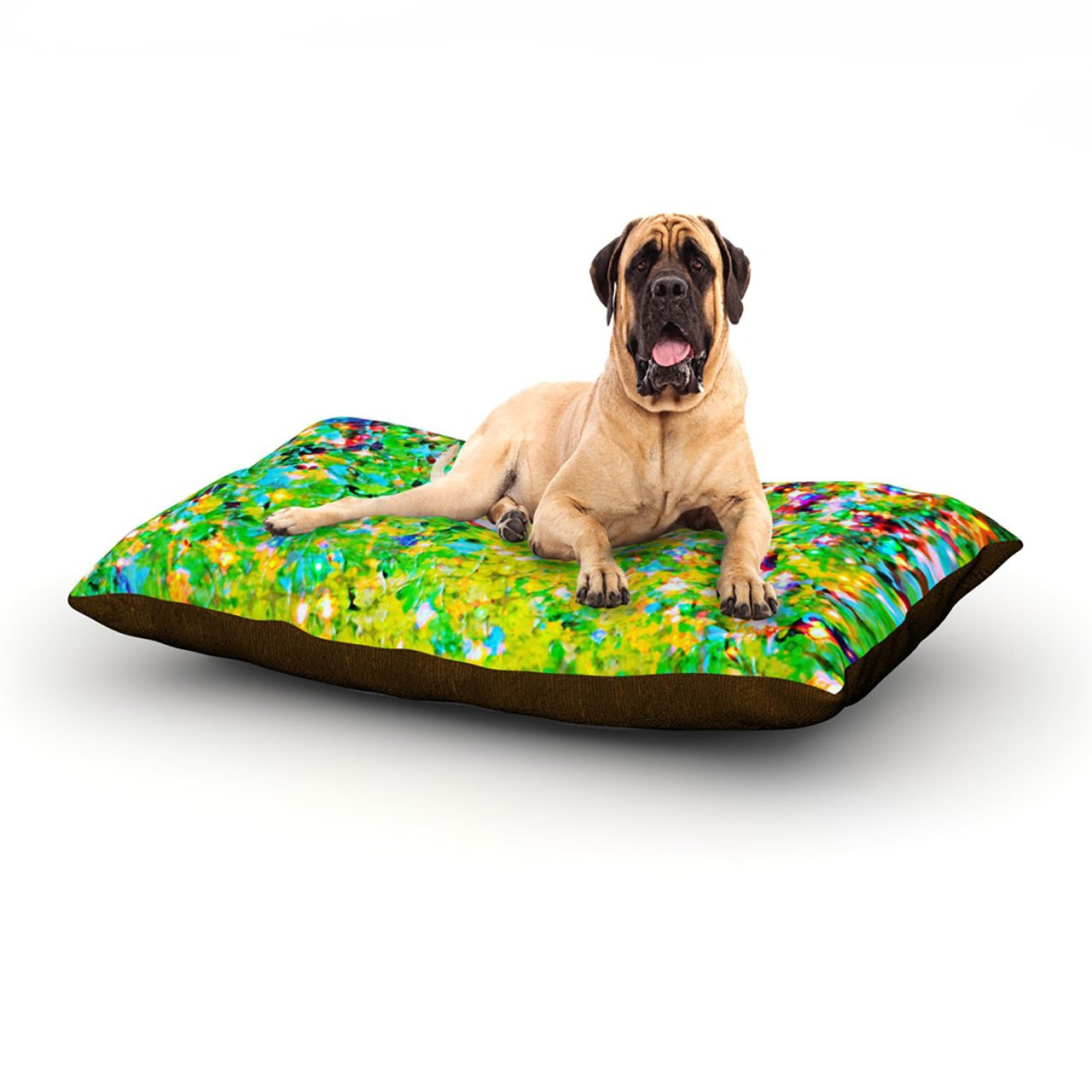 Holiday Cheer X-Large 40\ Holiday Cheer X-Large 40\ Kess InHouse EBI Emporium Holiday Cheer Yellow Green Dog Bed