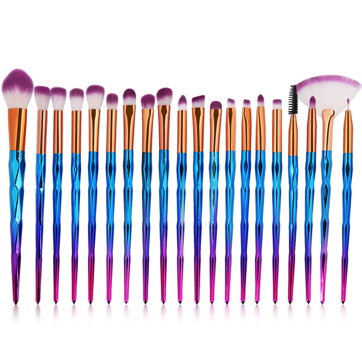 Eye Brush Set, 20 pcs Unicorn Eyeshadow Eyeliner Blending Crease Kit Makeup Brushes Make Up Foundation Eyebrow Eyeliner Blush Cosmetic Concealer Brushes (Blue)