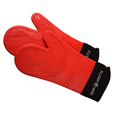 Allamov Red Silicone Pot Holders -1 Pair of Extra Long Professional Heat Resistant Oven Mitts & Baking Gloves BPA Free FDA Approved