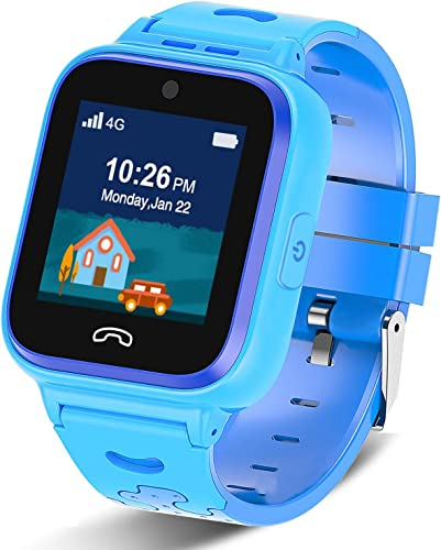 4G Kids Smartwatch Phone with GPS Tracker, Boys Watch Waterproof with WiFi Remote Monitoring Game FaceTalk Call SOS Pedometer, Kids Best Gift Age 4-14 Blue
