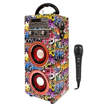 Altavoz Karaoke con Micrófonos Portátil inalámbrico nuevo modelo modo musica POP/ROK/NORMAL Lector USB control remoto,Smartphones Android