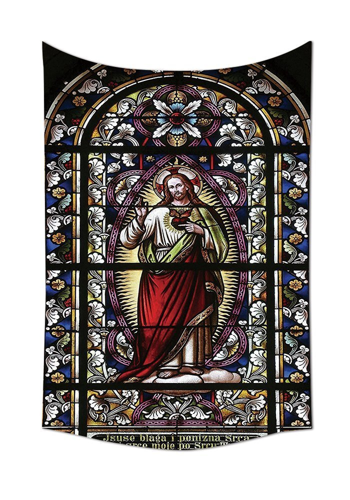 Sacred Heart of Jesus Pictures for Living Room Decoration Catholic Gifts Believe Art Christian Wall Decor Church Cathedral Window View Wall Hanging Silky Satin Tapestry Red Black White Blue (2)