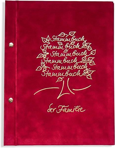 Cuaderno de tronco, A4 la familia – rosli de, Rojo, algodón de oro en relieve, incl. Protectores,