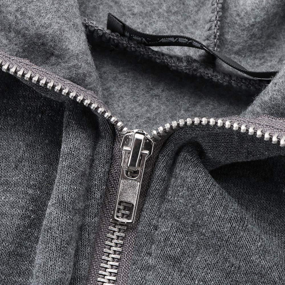 iLXHD Women Solid Long Sweatshirt Blouse Hooded Zipper Pullover Tops Shirt