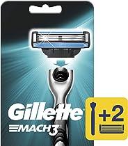 Gillette Mach3 1 Máquina Para Afeitar Recargable + 2 Cartuchos Para Afeitar