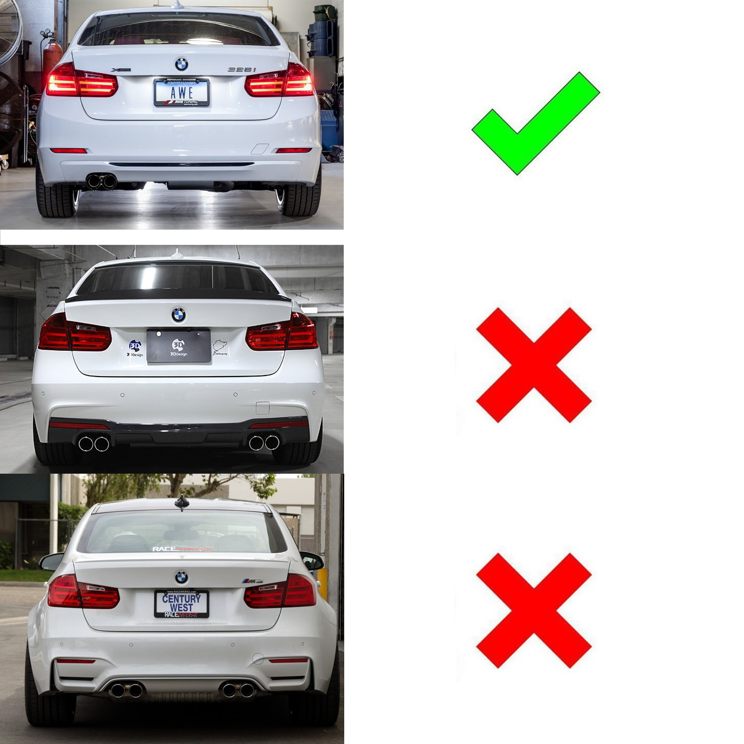 iJDMTOY Smoked Lens Rear Bumper Reflector Lenses For BMW F30 F31 F32 F33 3 4 Series Regular Bumper OE-Spec LH RH Assembly Will NOT Fit Sports Bumper or M3//M4