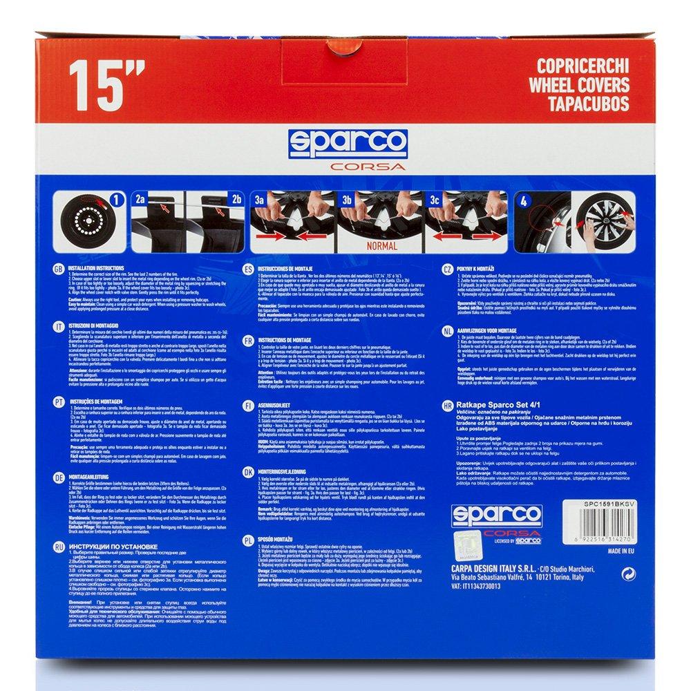 SPARCO SPC1491BKGR Copricerchi Lazio 14 Nero//Grigio Set da 4