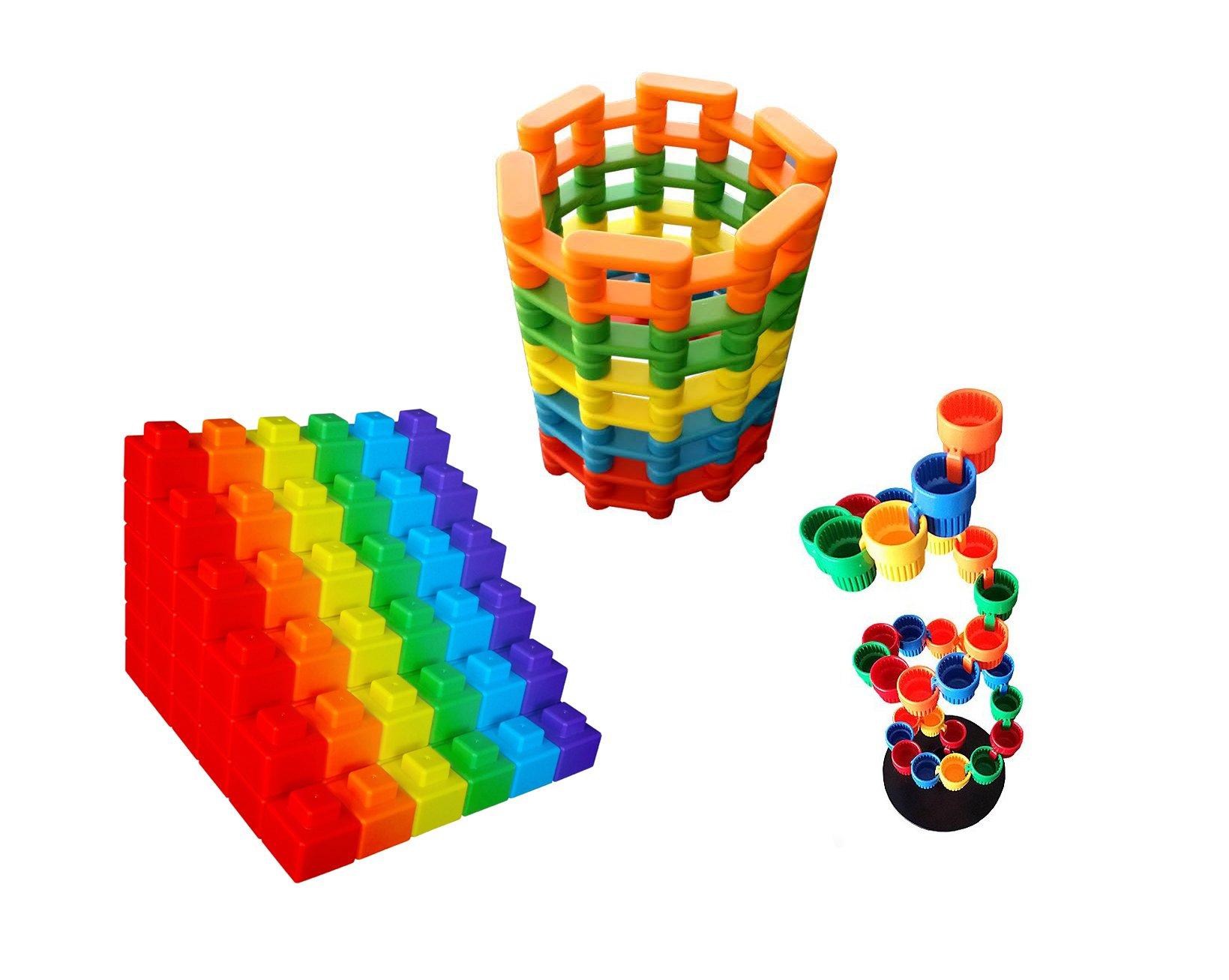 Magz Bundle of Three Bricks 40 Magnetic Building Set Pixels 48 Magnetic Building Blocks Cup Up 50 Building and Stacking Cups, Bundle of Three