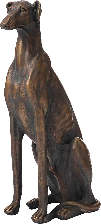 Glitzhome GH20380 Dog Garden Statues Bronze Greyhound Sculpture 30.25 Inch Tall, Left