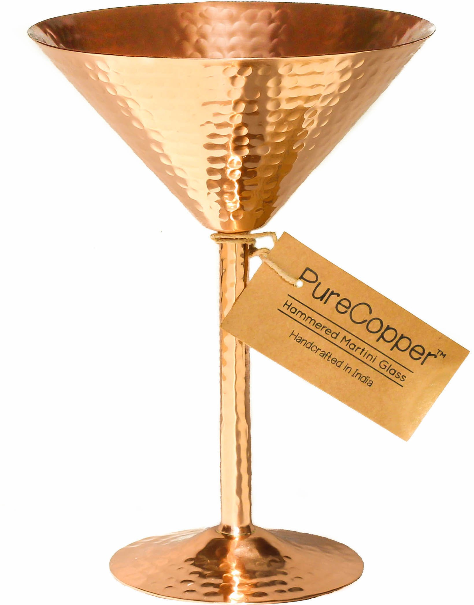 Solid Copper Martini Glass - 100% Copper, Beautifully Hand-Hammered Artisanal Barware - 10oz (1, Hammered Copper)