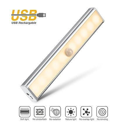 Iyowin Lámpara LED del Armario, 10 LEDs Barra de Luz Inalámbrica con Sensor de Movimiento