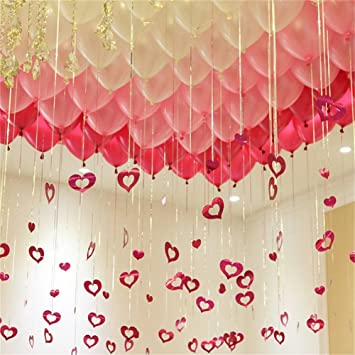 Amazon 100 pack 12 balloons theme party supplies balloons 100 pack 12quot balloons theme party supplies balloons red pink and white bling junglespirit Choice Image