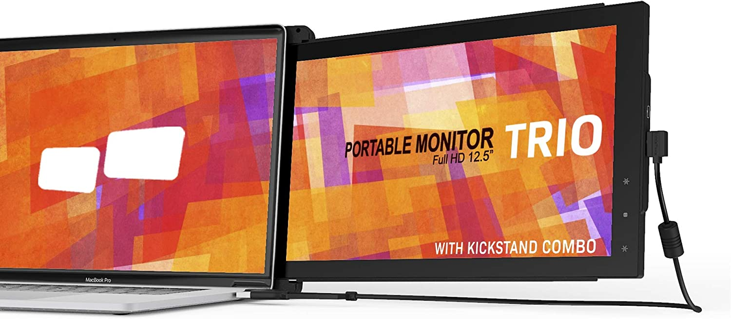 Mobile Pixels 12.5'' Trio (w/Kickstand) Portable Monitor for Laptops,Full HD IPS USB A/Type-C USB Powered On-The-Go Dual Screen, Plug and Play Mac Windows Nintendo Switch (One Trio Monitor (12.5