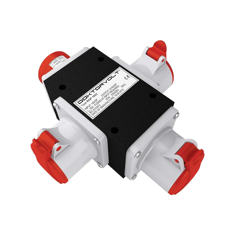 CEE Adapter 3x 16 A / 400 V power distributor building site distributor, ROP 1653 distributor 6376 Doktorvolt